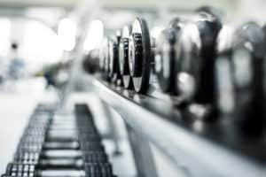 Row of weights on a rack